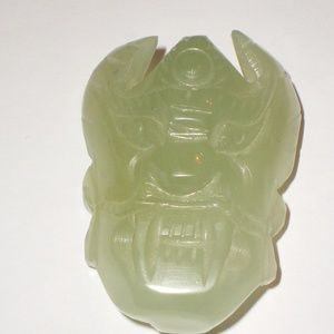 "Antique Chinese Jade Belt Buckle GOD Face 3"" Long"